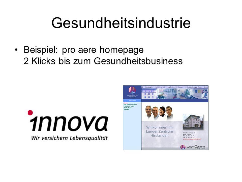 Gesundheitsindustrie Beispiel: pro aere homepage 2 Klicks bis zum Gesundheitsbusiness