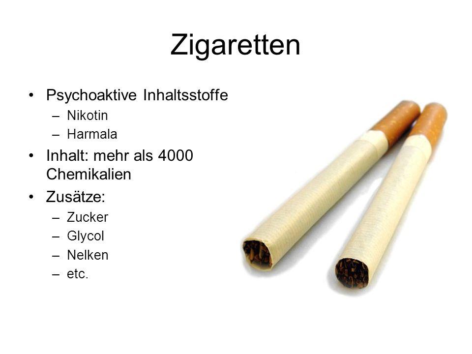 Zigaretten Psychoaktive Inhaltsstoffe –Nikotin –Harmala Inhalt: mehr als 4000 Chemikalien Zusätze: –Zucker –Glycol –Nelken –etc.
