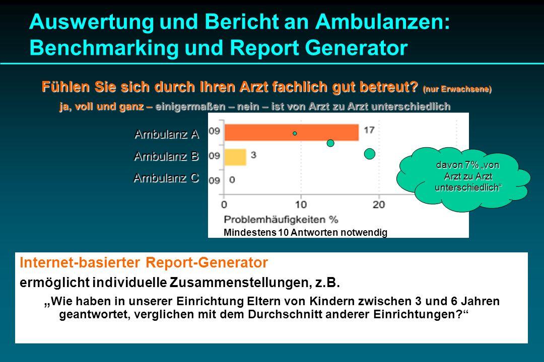 Auswertung und Bericht an Ambulanzen: Benchmarking und Report Generator Internet-basierter Report-Generator ermöglicht individuelle Zusammenstellungen