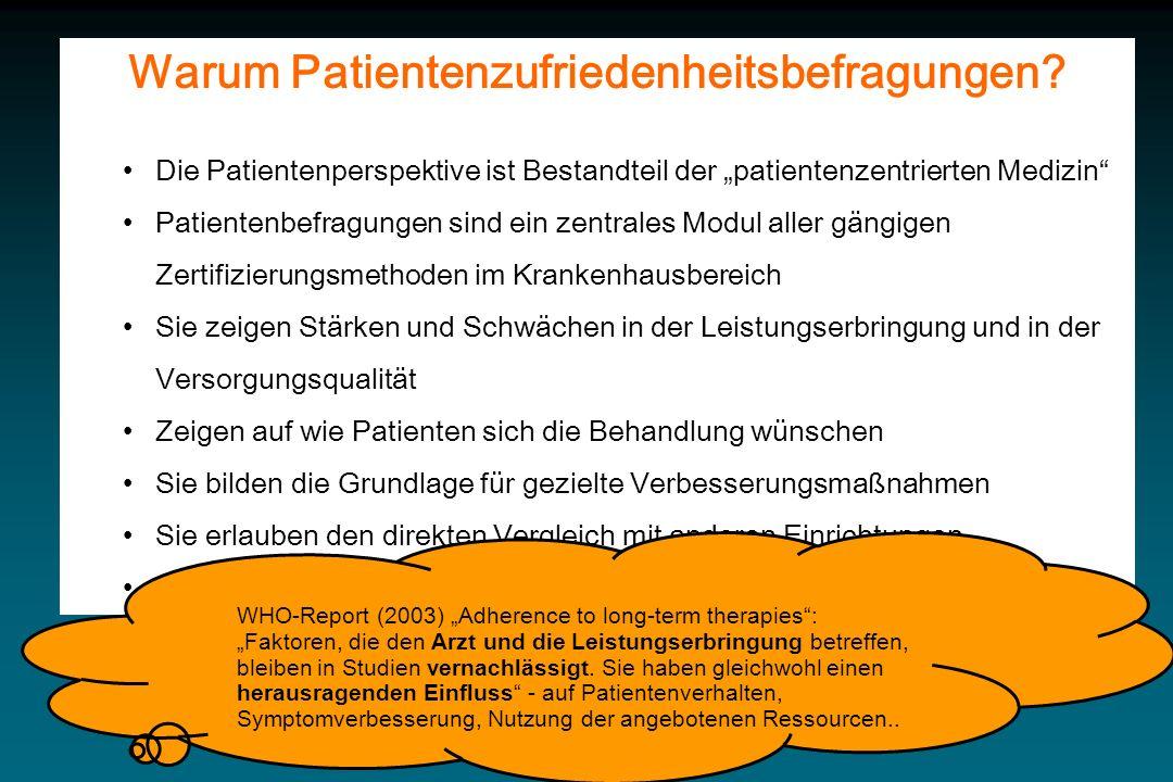 Warum Patientenzufriedenheitsbefragungen? Die Patientenperspektive ist Bestandteil der patientenzentrierten Medizin Patientenbefragungen sind ein zent