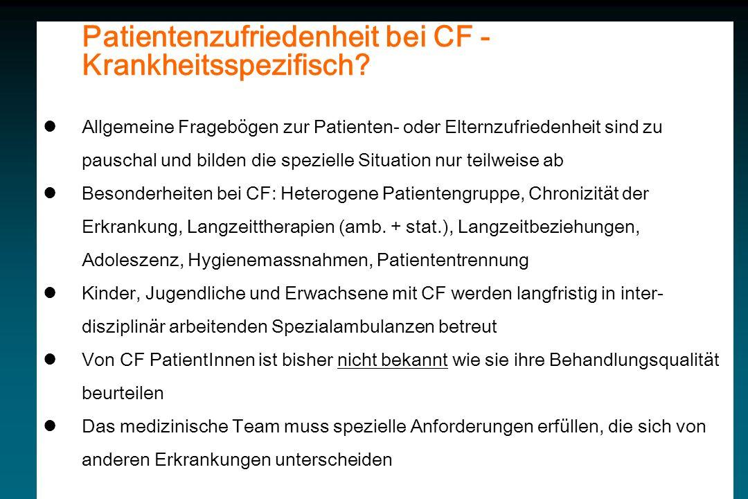 Patientenzufriedenheit bei CF - Krankheitsspezifisch.