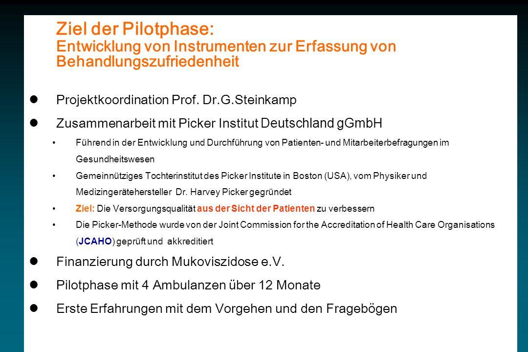 Ziel der Pilotphase: Entwicklung von Instrumenten zur Erfassung von Behandlungszufriedenheit Projektkoordination Prof. Dr.G.Steinkamp Zusammenarbeit m