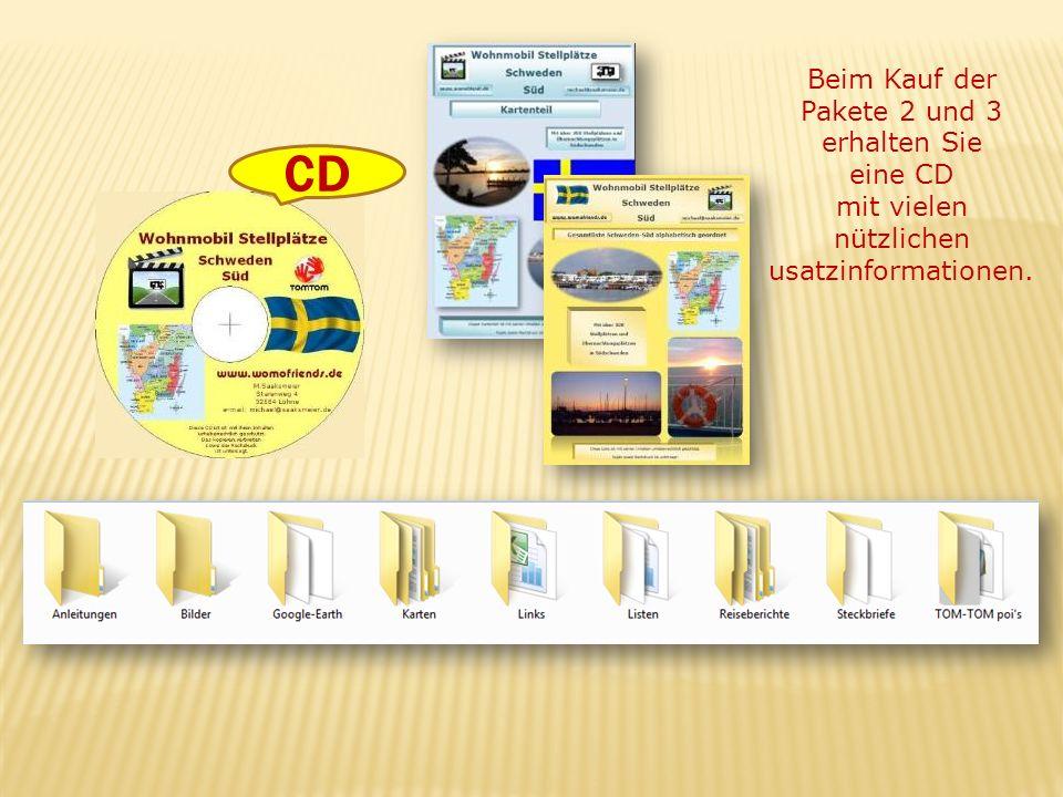 Beim Kauf der Pakete 2 und 3 erhalten Sie eine CD mit vielen nützlichen usatzinformationen. CD