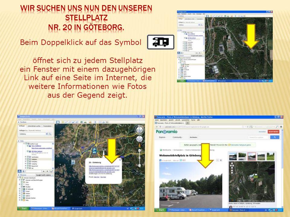 Beim Doppelklick auf das Symbol öffnet sich zu jedem Stellplatz ein Fenster mit einem dazugehörigen Link auf eine Seite im Internet, die weitere Infor