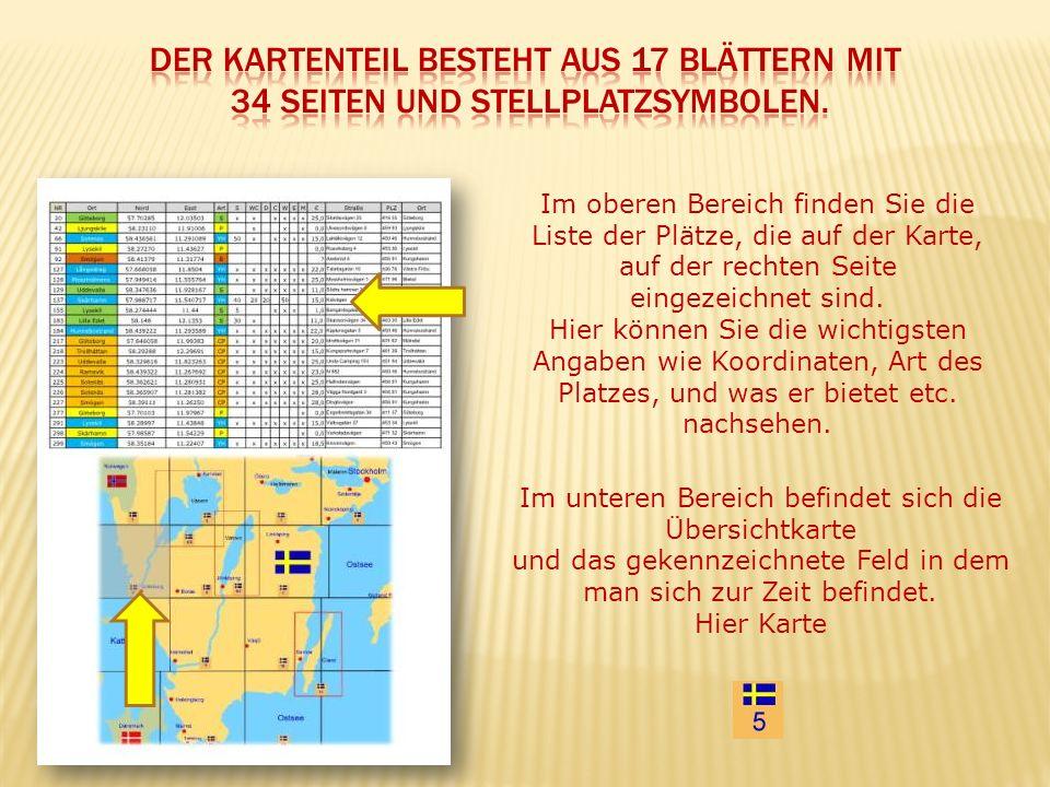 Im unteren Bereich befindet sich die Übersichtkarte und das gekennzeichnete Feld in dem man sich zur Zeit befindet. Hier Karte Im oberen Bereich finde