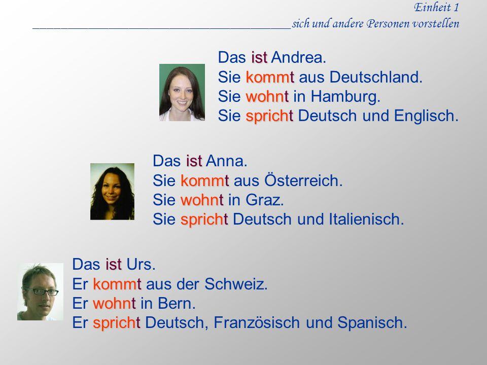 Einheit 1 ______________________________________sich und andere Personen vorstellen Das i ii ist Andrea. Sie k kk kommt aus Deutschland. Sie w ww wohn