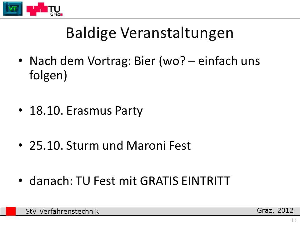 Graz, 2012 Nach dem Vortrag: Bier (wo? – einfach uns folgen) 18.10. Erasmus Party 25.10. Sturm und Maroni Fest danach: TU Fest mit GRATIS EINTRITT 11