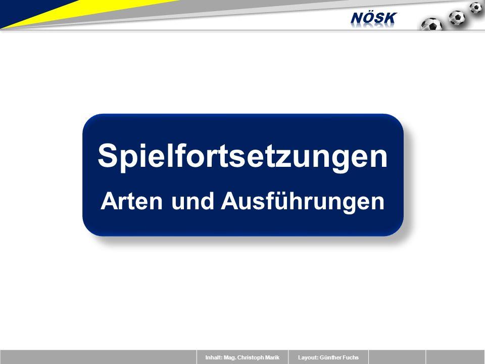 Inhalt: Mag. Christoph MarikLayout: Günther Fuchs Spielfortsetzungen Arten und Ausführungen Spielfortsetzungen Arten und Ausführungen