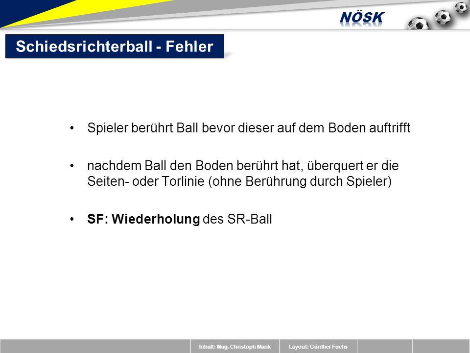 Inhalt: Mag. Christoph MarikLayout: Günther Fuchs Spieler berührt Ball bevor dieser auf dem Boden auftrifft nachdem Ball den Boden berührt hat, überqu