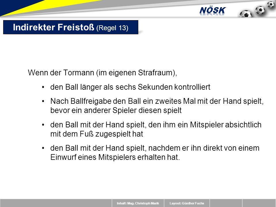 Inhalt: Mag. Christoph MarikLayout: Günther Fuchs Wenn der Tormann (im eigenen Strafraum), den Ball länger als sechs Sekunden kontrolliert Nach Ballfr