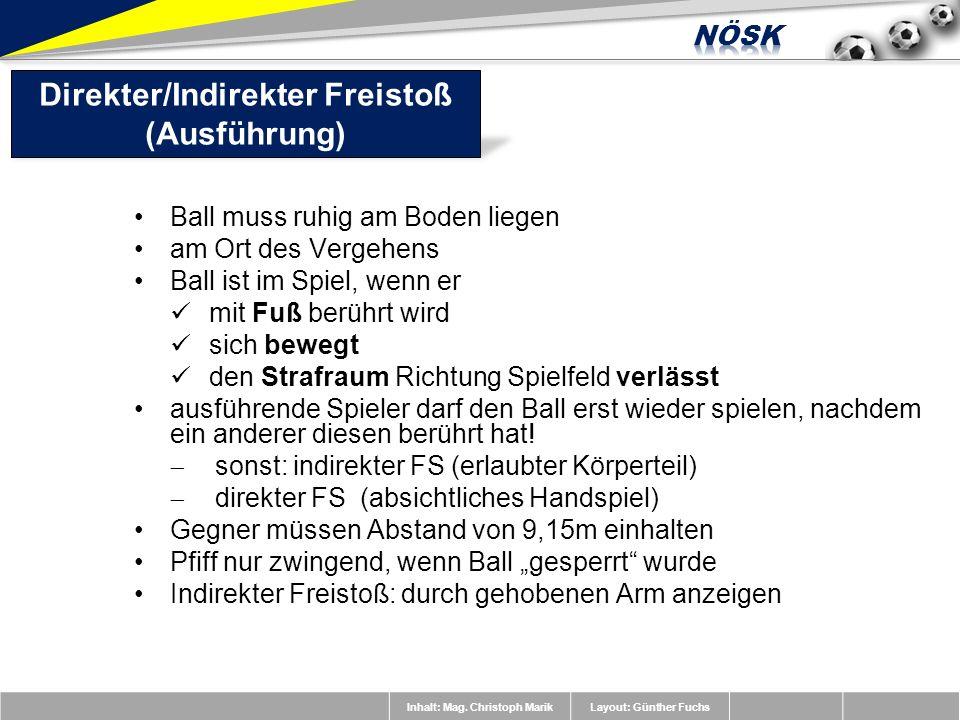 Inhalt: Mag. Christoph MarikLayout: Günther Fuchs Ball muss ruhig am Boden liegen am Ort des Vergehens Ball ist im Spiel, wenn er mit Fuß berührt wird