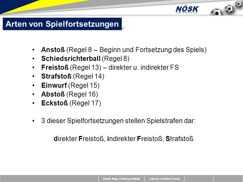Inhalt: Mag. Christoph MarikLayout: Günther Fuchs Anstoß (Regel 8 – Beginn und Fortsetzung des Spiels) Schiedsrichterball (Regel 8) Freistoß (Regel 13