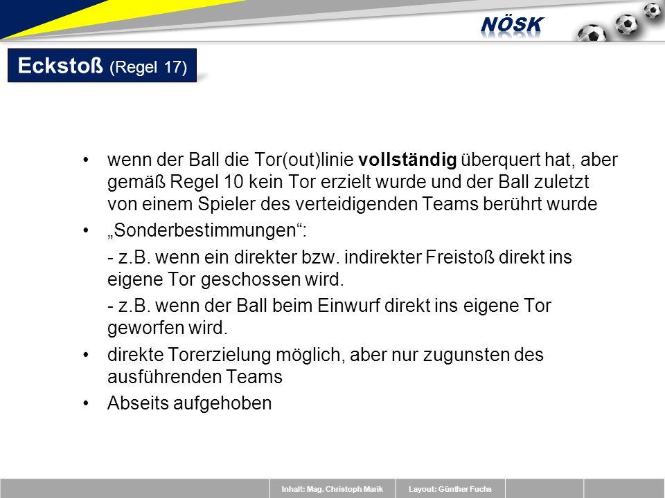 Inhalt: Mag. Christoph MarikLayout: Günther Fuchs wenn der Ball die Tor(out)linie vollständig überquert hat, aber gemäß Regel 10 kein Tor erzielt wurd