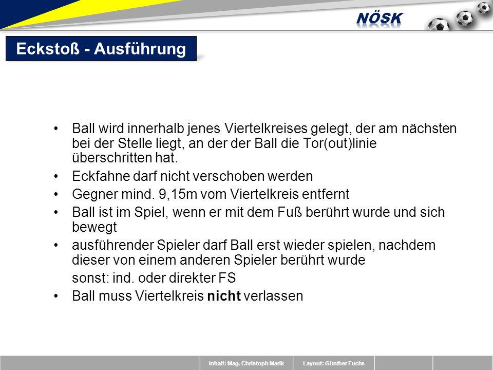 Inhalt: Mag. Christoph MarikLayout: Günther Fuchs Ball wird innerhalb jenes Viertelkreises gelegt, der am nächsten bei der Stelle liegt, an der der Ba