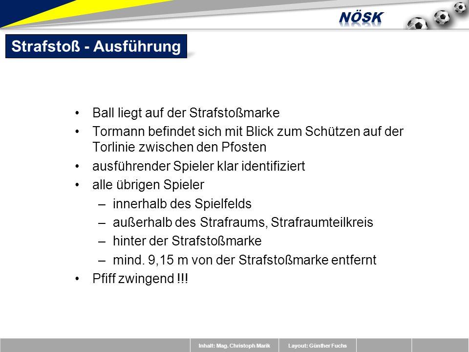 Inhalt: Mag. Christoph MarikLayout: Günther Fuchs Ball liegt auf der Strafstoßmarke Tormann befindet sich mit Blick zum Schützen auf der Torlinie zwis