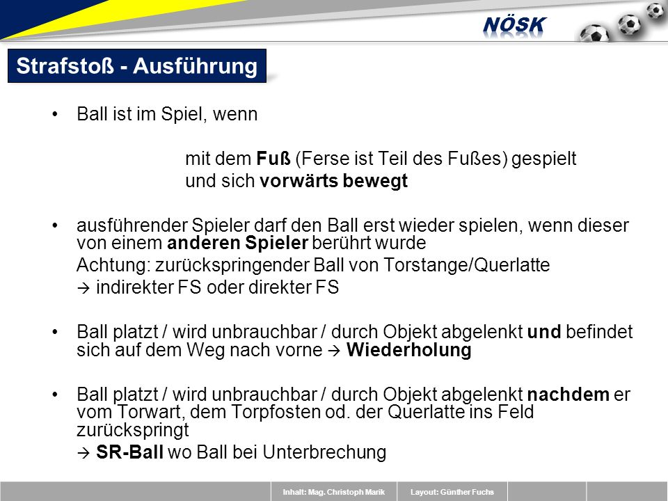 Inhalt: Mag. Christoph MarikLayout: Günther Fuchs Ball ist im Spiel, wenn mit dem Fuß (Ferse ist Teil des Fußes) gespielt und sich vorwärts bewegt aus