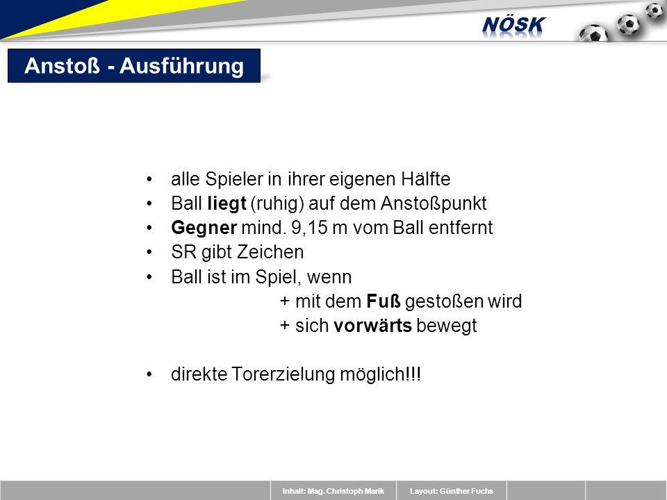 Inhalt: Mag. Christoph MarikLayout: Günther Fuchs alle Spieler in ihrer eigenen Hälfte Ball liegt (ruhig) auf dem Anstoßpunkt Gegner mind. 9,15 m vom