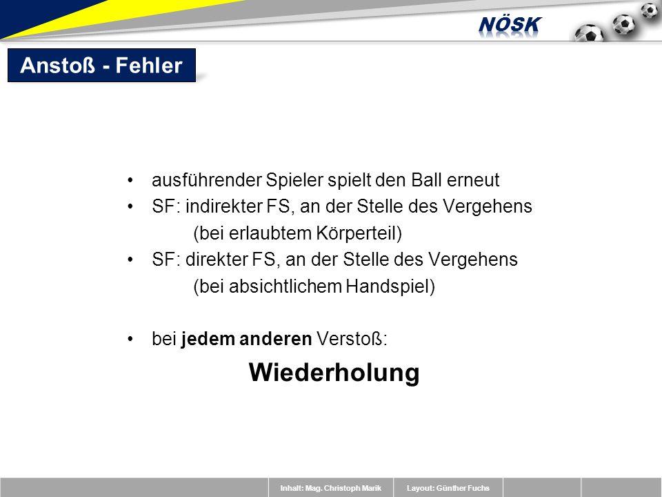 Inhalt: Mag. Christoph MarikLayout: Günther Fuchs ausführender Spieler spielt den Ball erneut SF: indirekter FS, an der Stelle des Vergehens (bei erla