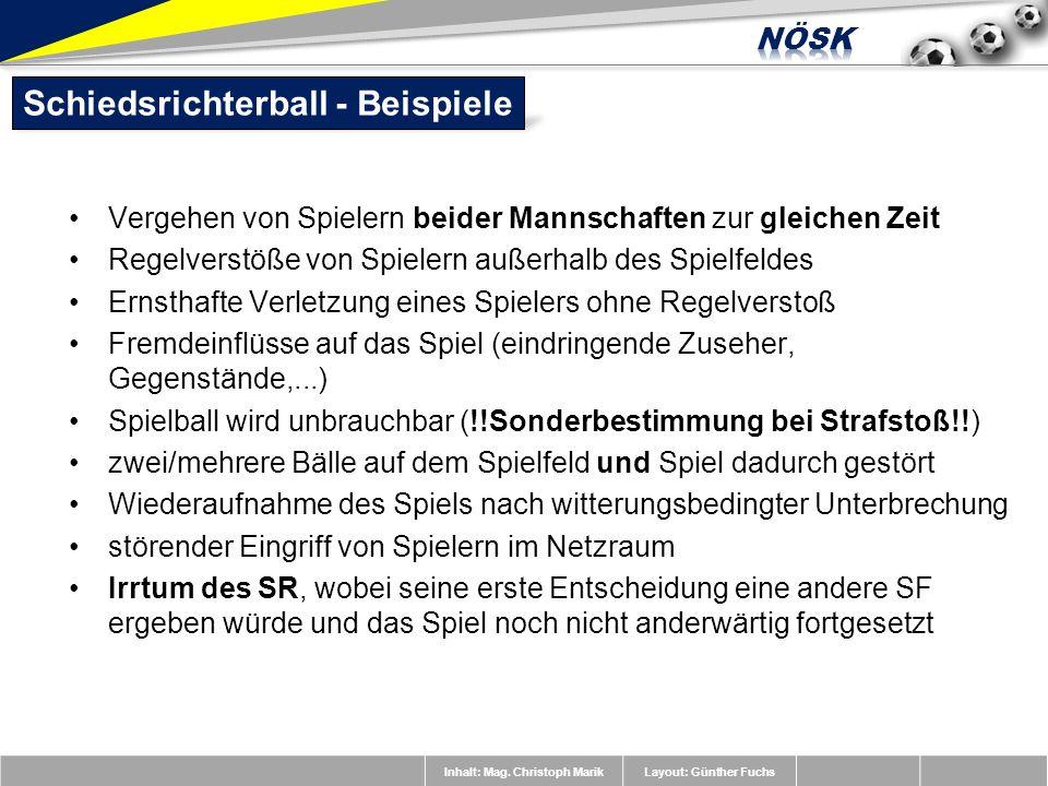 Inhalt: Mag. Christoph MarikLayout: Günther Fuchs Vergehen von Spielern beider Mannschaften zur gleichen Zeit Regelverstöße von Spielern außerhalb des