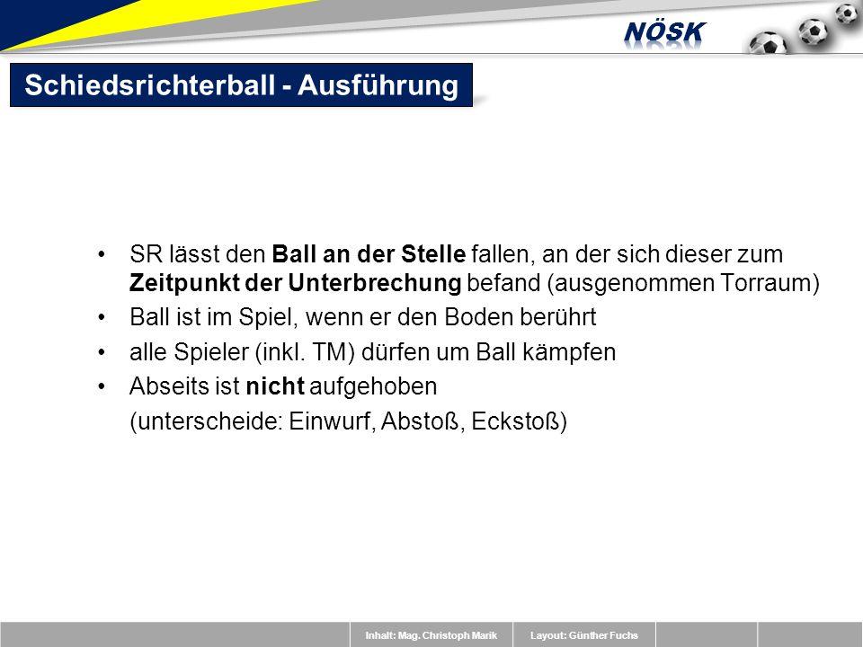 Inhalt: Mag. Christoph MarikLayout: Günther Fuchs SR lässt den Ball an der Stelle fallen, an der sich dieser zum Zeitpunkt der Unterbrechung befand (a
