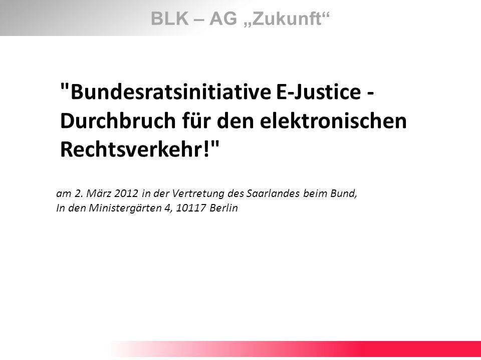 BLK – AG Zukunft Das Vorgehensmodell (Handlungsfelder) Identifizierte Handlungsfelder sind, Zivilsachen Grundbuch Register Zwangsvollstreckung Mahnsachen Ordnungswidrigkeitssachen Betreuungssachen Insolvenzsachen Fachgerichte