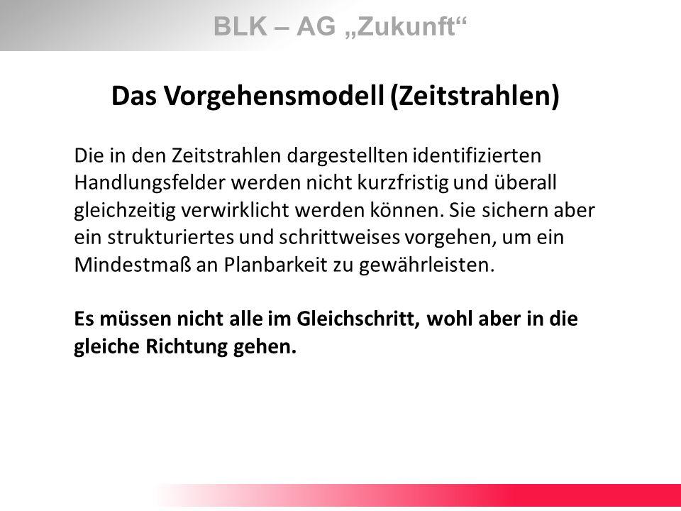 BLK – AG Zukunft Das Vorgehensmodell (Zeitstrahlen) Die in den Zeitstrahlen dargestellten identifizierten Handlungsfelder werden nicht kurzfristig und