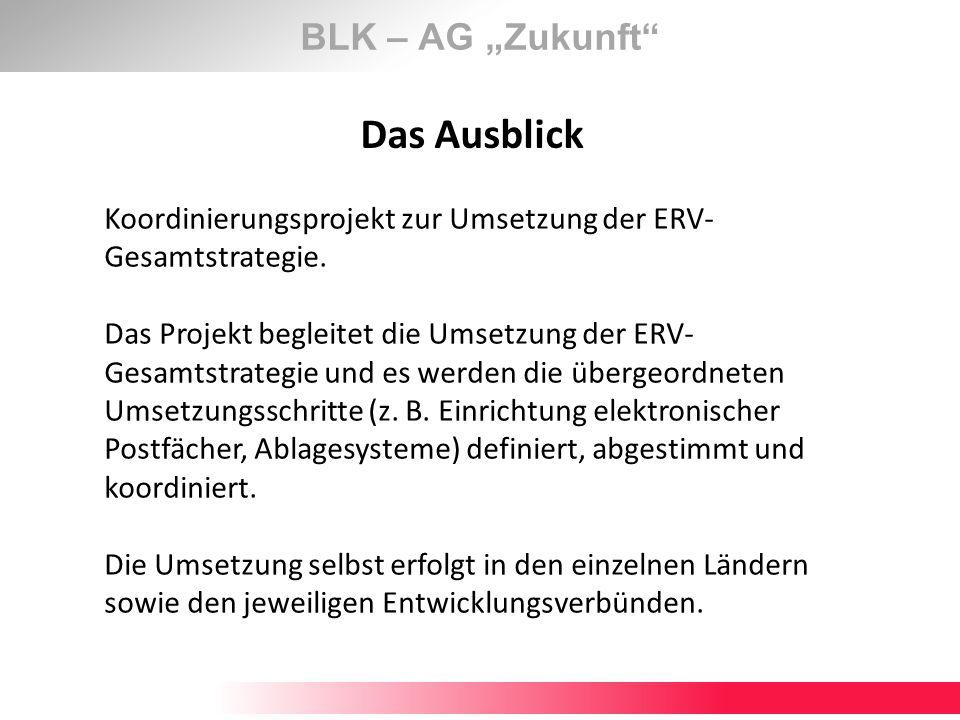 BLK – AG Zukunft Das Ausblick Koordinierungsprojekt zur Umsetzung der ERV- Gesamtstrategie. Das Projekt begleitet die Umsetzung der ERV- Gesamtstrateg