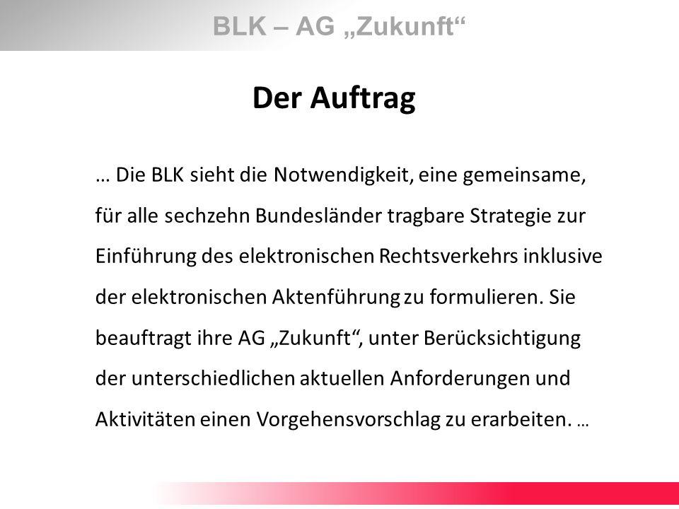 BLK – AG Zukunft Das Ziel Erarbeitung eines konkreten Vorgehensmodell zur effektiven Förderung des ERV als Leitfaden zur Modernisierung der deutschen Justiz und einer bundesweit einheitlichen ERV-Landschaft bis 2020.
