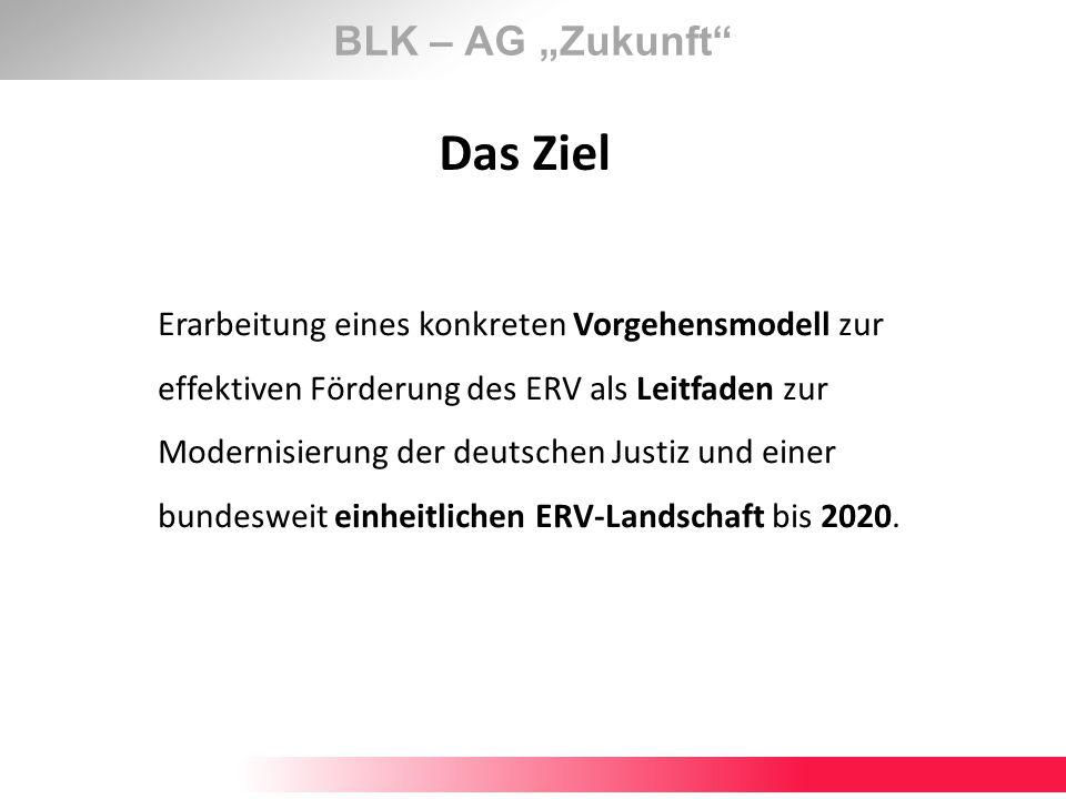 BLK – AG Zukunft Das Ziel Erarbeitung eines konkreten Vorgehensmodell zur effektiven Förderung des ERV als Leitfaden zur Modernisierung der deutschen