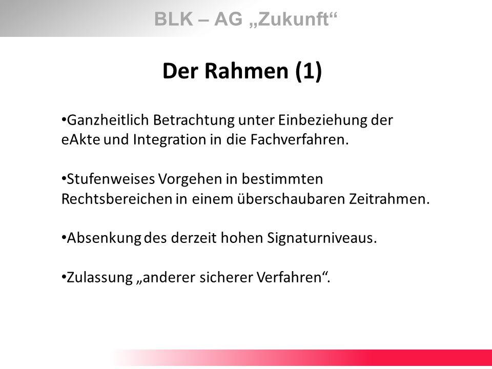 BLK – AG Zukunft Der Rahmen (1) Ganzheitlich Betrachtung unter Einbeziehung der eAkte und Integration in die Fachverfahren. Stufenweises Vorgehen in b