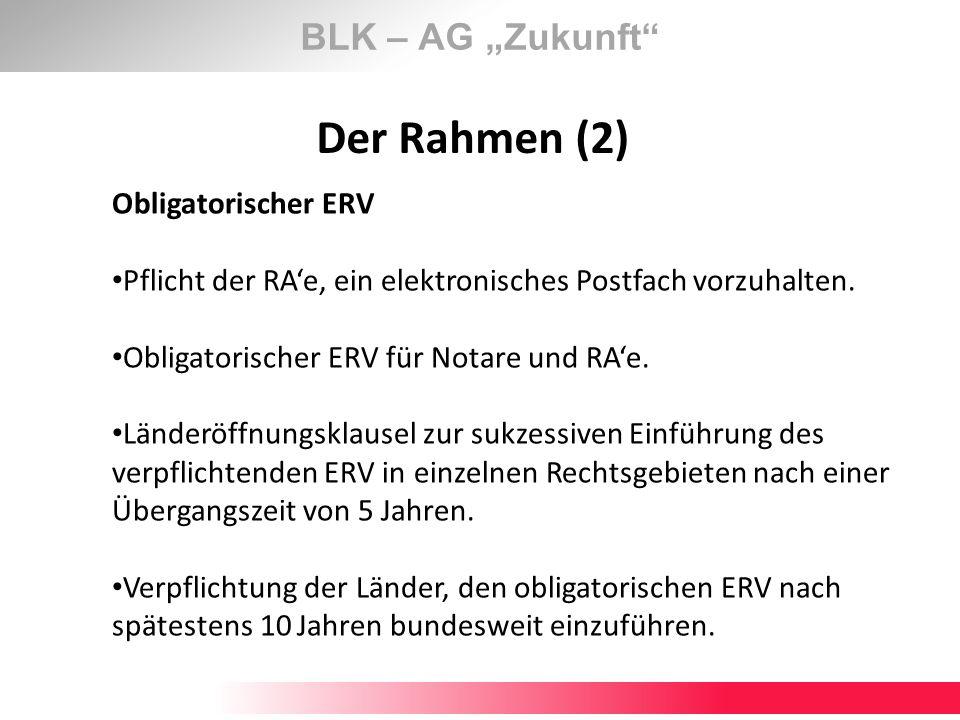 BLK – AG Zukunft Der Rahmen (2) Obligatorischer ERV Pflicht der RAe, ein elektronisches Postfach vorzuhalten. Obligatorischer ERV für Notare und RAe.