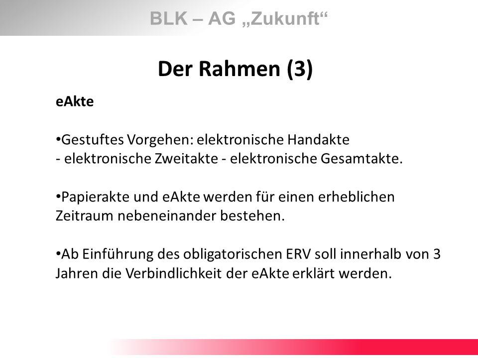 BLK – AG Zukunft Der Rahmen (3) eAkte Gestuftes Vorgehen: elektronische Handakte - elektronische Zweitakte - elektronische Gesamtakte. Papierakte und