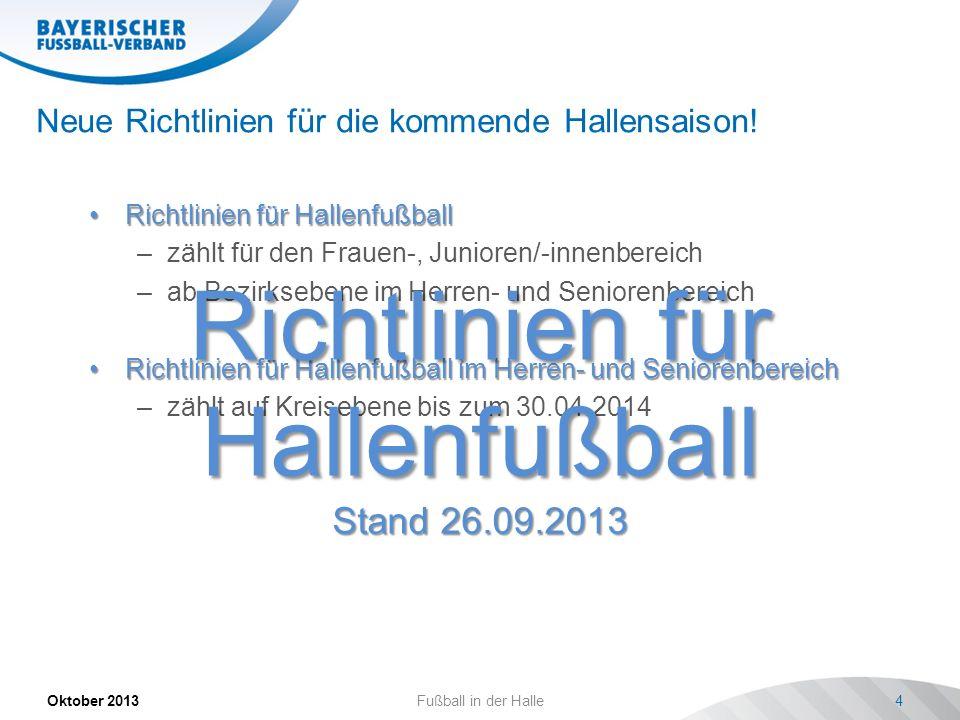 Neue Richtlinien für die kommende Hallensaison! Oktober 2013Fußball in der Halle4 Richtlinien für HallenfußballRichtlinien für Hallenfußball –zählt fü