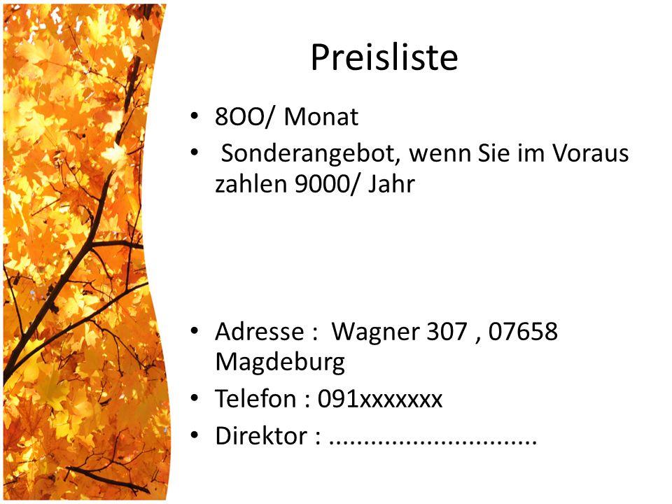 Preisliste 8OO/ Monat Sonderangebot, wenn Sie im Voraus zahlen 9000/ Jahr Adresse : Wagner 307, 07658 Magdeburg Telefon : 091xxxxxxx Direktor :..............................