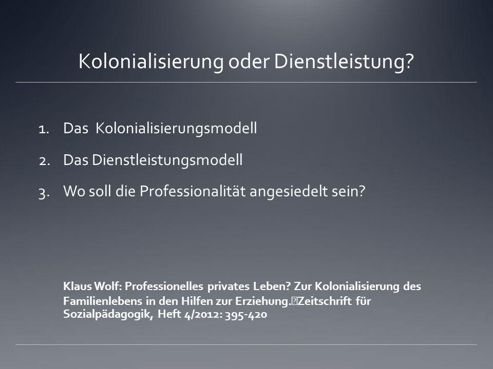 Kolonialisierung oder Dienstleistung? 1.Das Kolonialisierungsmodell 2.Das Dienstleistungsmodell 3.Wo soll die Professionalität angesiedelt sein? Klaus