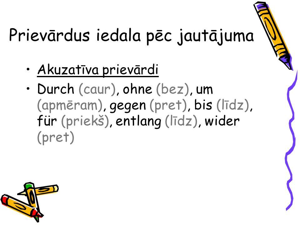 Prievārdus iedala pēc jautājuma Akuzatīva prievārdi Durch (caur), ohne (bez), um (apmēram), gegen (pret), bis (līdz), für (priekš), entlang (līdz), wi