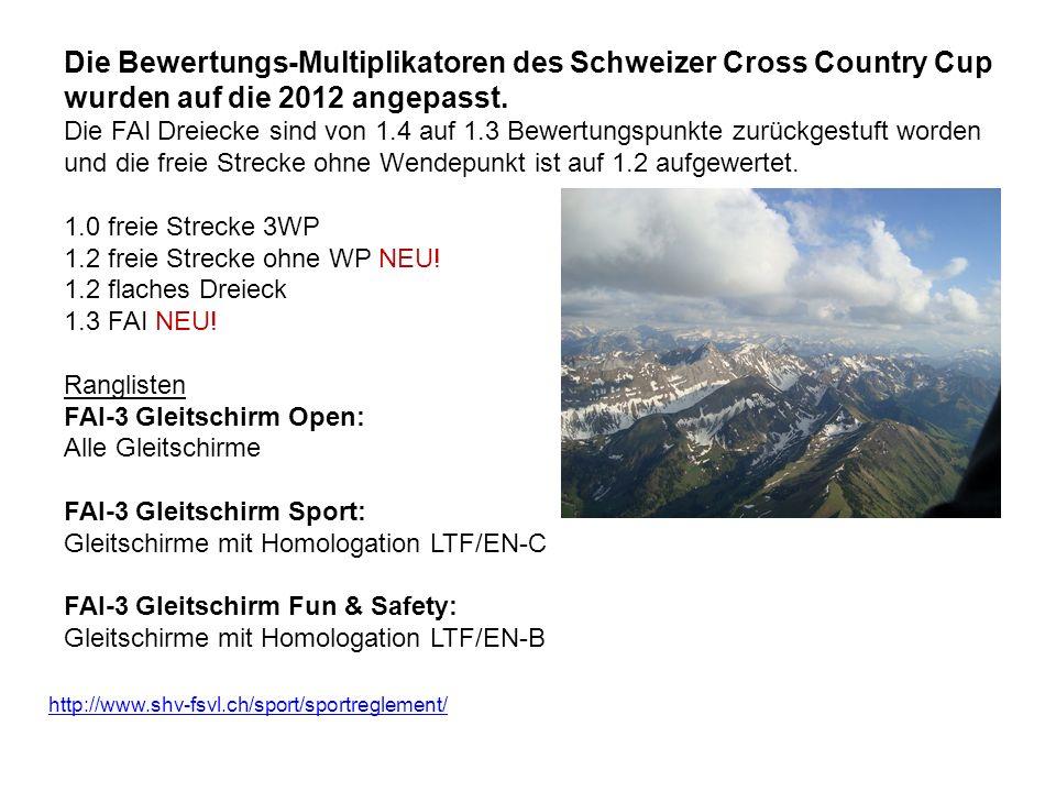 Die Bewertungs-Multiplikatoren des Schweizer Cross Country Cup wurden auf die 2012 angepasst. Die FAI Dreiecke sind von 1.4 auf 1.3 Bewertungspunkte z