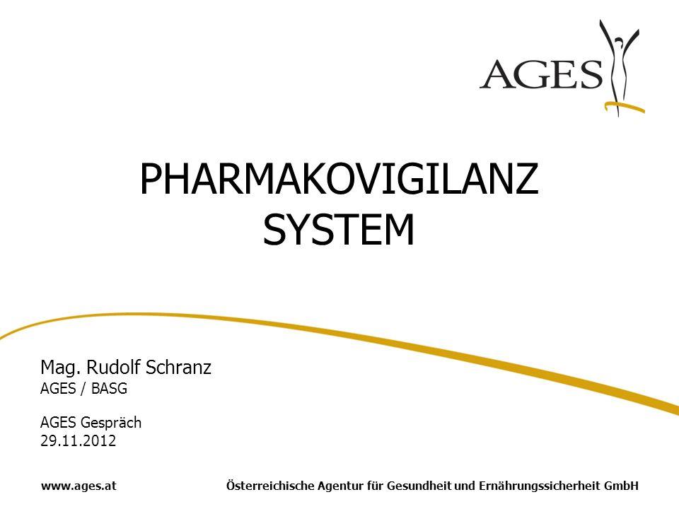 Österreichische Agentur für Gesundheit und Ernährungssicherheit GmbHwww.ages.at PHARMAKOVIGILANZ SYSTEM Mag. Rudolf Schranz AGES / BASG AGES Gespräch
