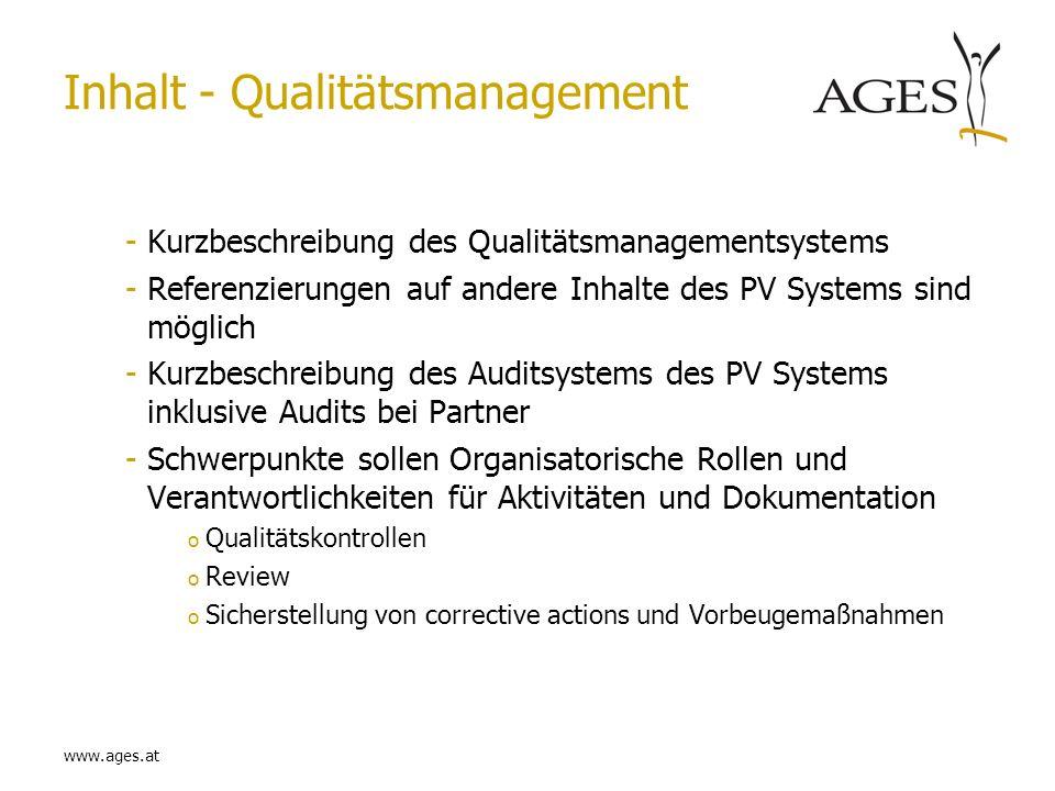 www.ages.at Inhalt - Qualitätsmanagement -Kurzbeschreibung des Qualitätsmanagementsystems -Referenzierungen auf andere Inhalte des PV Systems sind mög