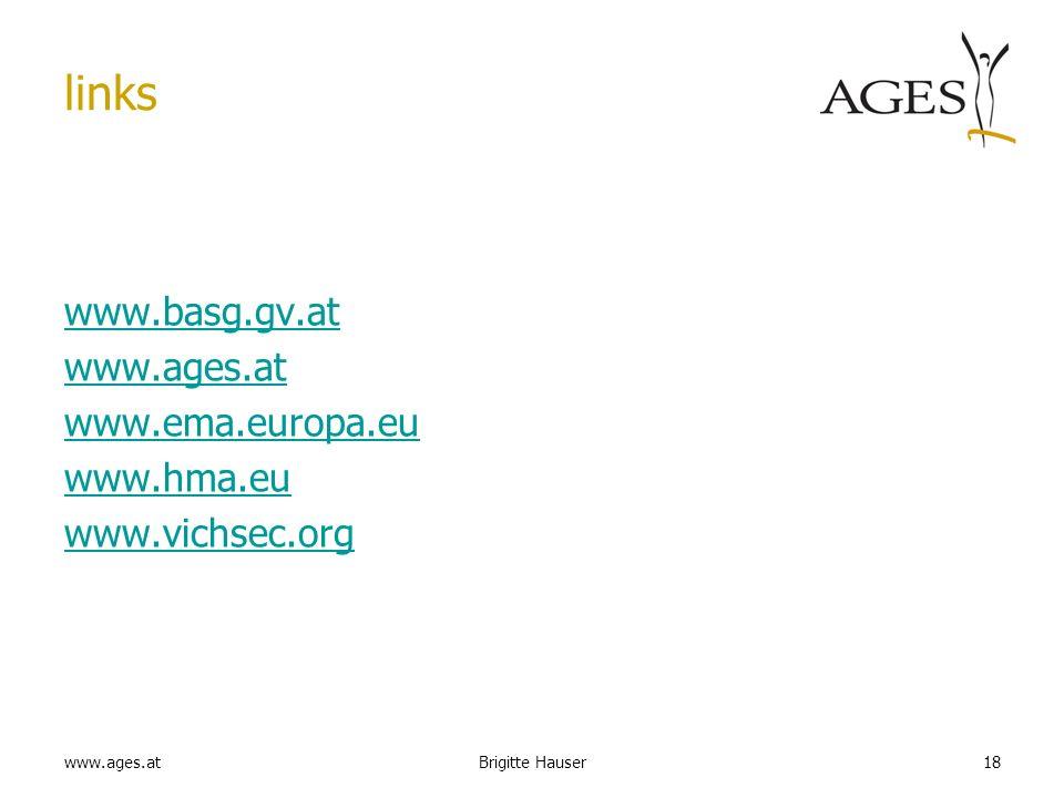 www.ages.at links www.basg.gv.at www.ages.at www.ema.europa.eu www.hma.eu www.vichsec.org 18Brigitte Hauser