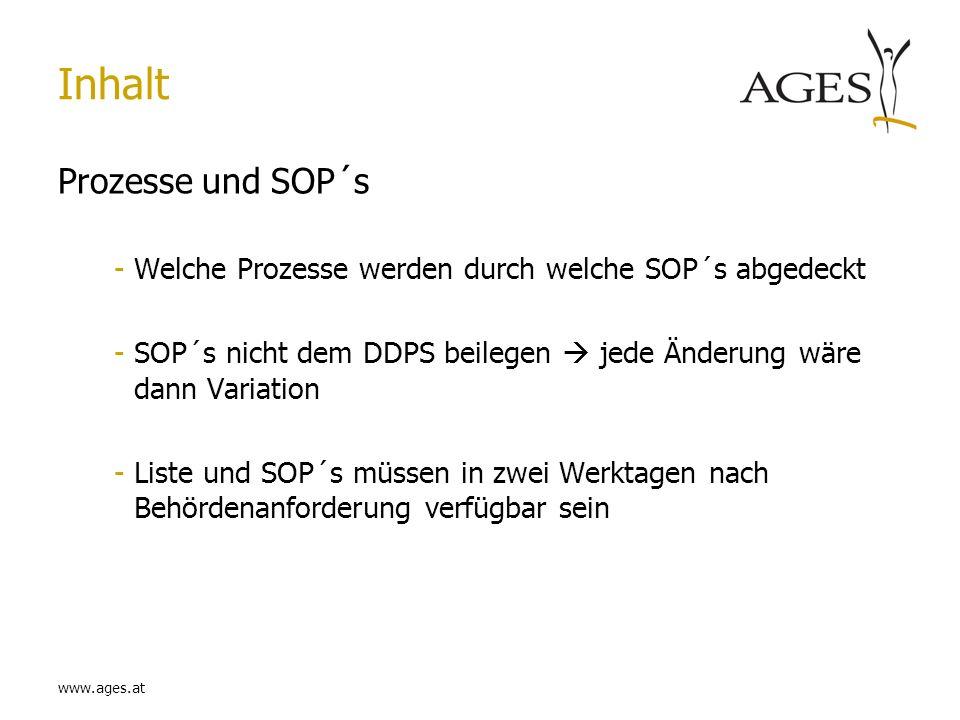 www.ages.at Inhalt Prozesse und SOP´s -Welche Prozesse werden durch welche SOP´s abgedeckt -SOP´s nicht dem DDPS beilegen jede Änderung wäre dann Vari