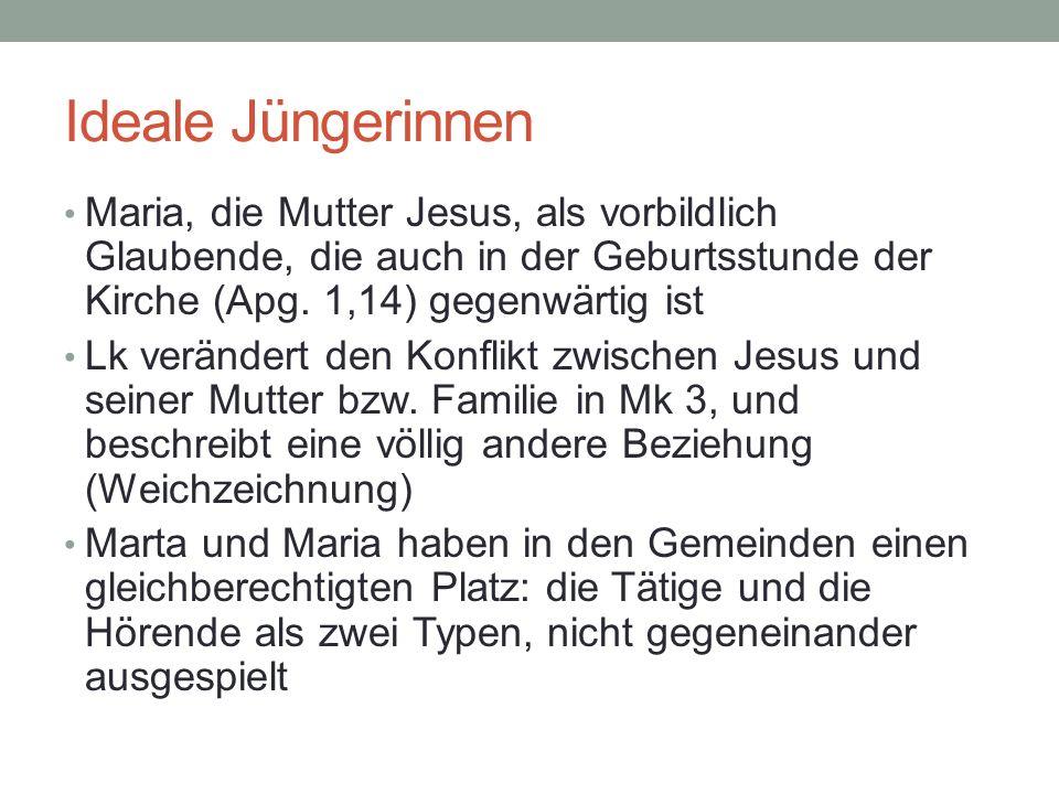 Ideale Jüngerinnen Maria, die Mutter Jesus, als vorbildlich Glaubende, die auch in der Geburtsstunde der Kirche (Apg. 1,14) gegenwärtig ist Lk verände