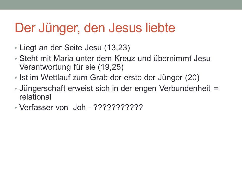 Der Jünger, den Jesus liebte Liegt an der Seite Jesu (13,23) Steht mit Maria unter dem Kreuz und übernimmt Jesu Verantwortung für sie (19,25) Ist im W