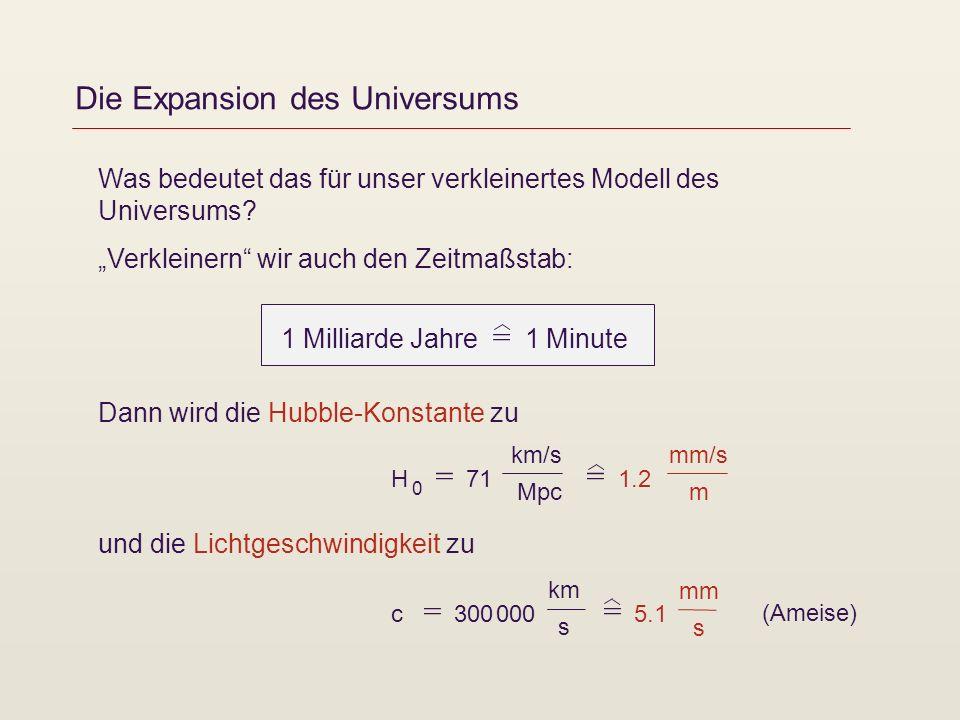 Die Expansion des Universums Was bedeutet das für unser verkleinertes Modell des Universums? Verkleinern wir auch den Zeitmaßstab: Dann wird die Hubbl