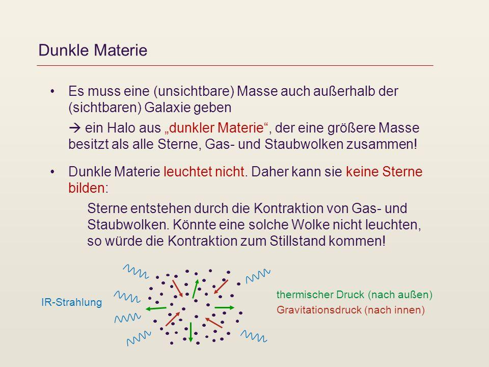 Dunkle Materie Es muss eine (unsichtbare) Masse auch außerhalb der (sichtbaren) Galaxie geben ein Halo aus dunkler Materie, der eine größere Masse bes