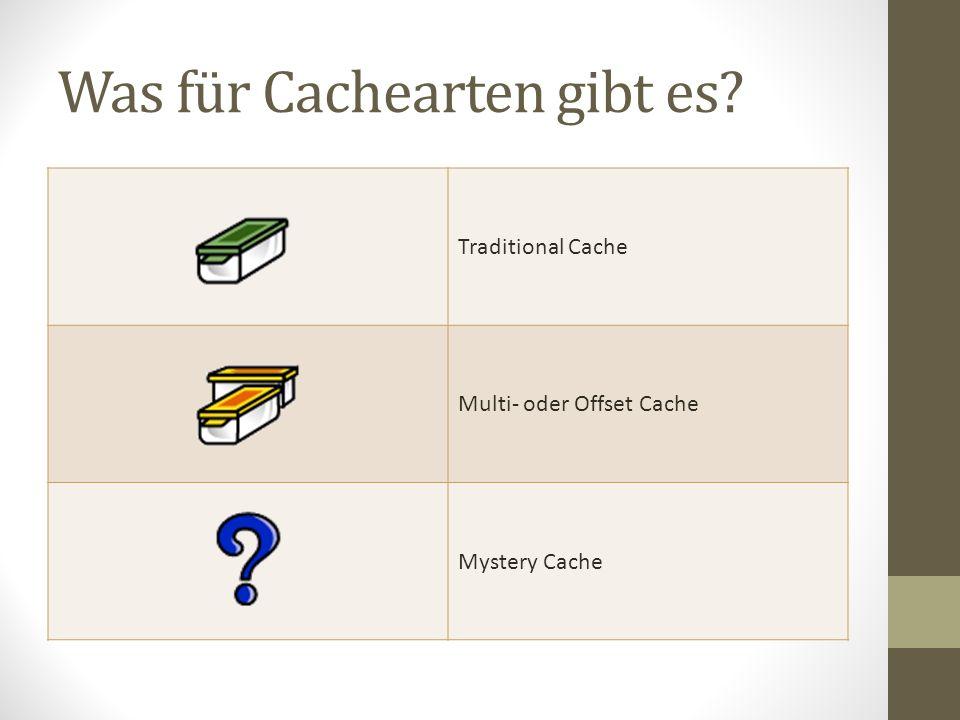 Was für Cachearten gibt es? Traditional Cache Multi- oder Offset Cache Mystery Cache