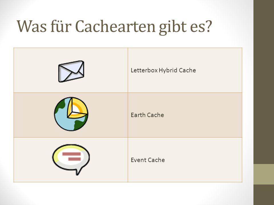 Was für Cachearten gibt es? Letterbox Hybrid Cache Earth Cache Event Cache