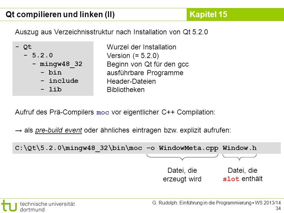 Kapitel 15 Qt compilieren und linken (II) - Qt - 5.2.0 - mingw48_32 - bin - include - lib Auszug aus Verzeichnisstruktur nach Installation von Qt 5.2.