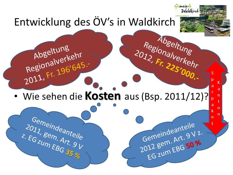 Kosten Wie sehen die Kosten aus (Bsp. 2011/12)? Abgeltung Regionalverkehr 2012, Fr. 225000.- 50 % Gemeindeanteile 2012 gem. Art. 9 V z. EG zum EBG 50