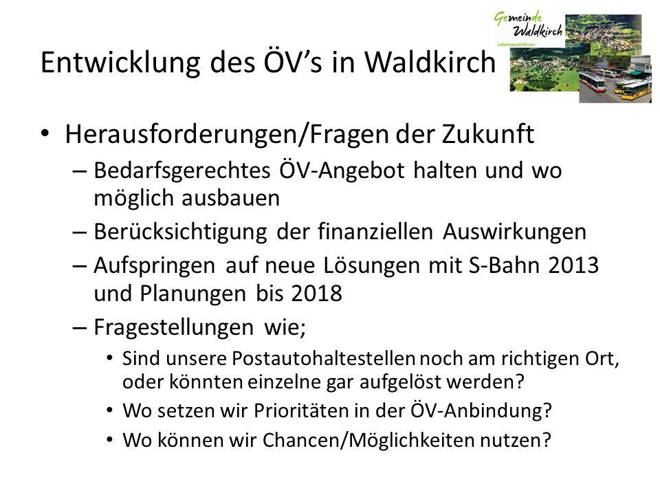 Entwicklung des ÖVs in Waldkirch Herausforderungen/Fragen der Zukunft – Bedarfsgerechtes ÖV-Angebot halten und wo möglich ausbauen – Berücksichtigung